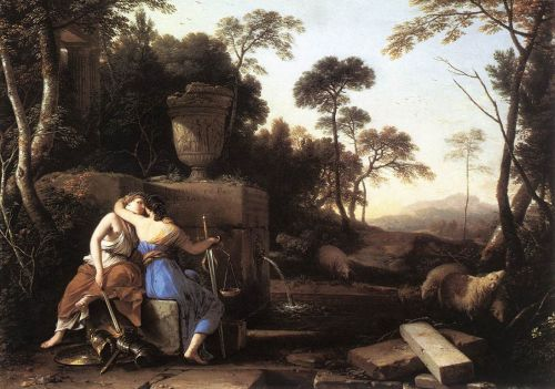 Landscape with Peace and Justice Embracing