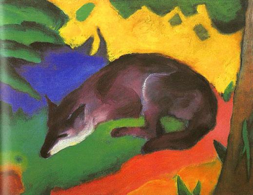 Franz Marc Blue Black Fox Oil Painting