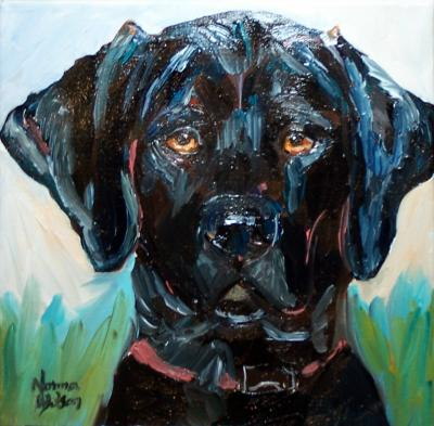 Norma Wilson Original Oil Black Lab Straight On