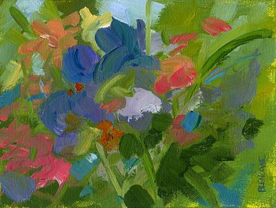 Abstract Impressionist Flower Painting with Iris