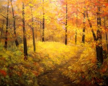 Autumns Welcoming III Fall Tree Landscape Painting by Connie Tom