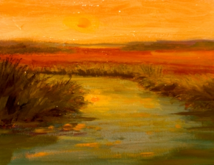 Contemporary Sunset Marsh Impressionist Painting