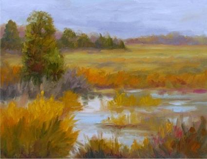 Impressionist Autumn Marsh Landscape