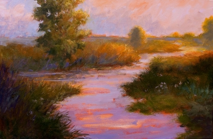 Marsh at Sunset Large Contemporary Impressionist Landscape