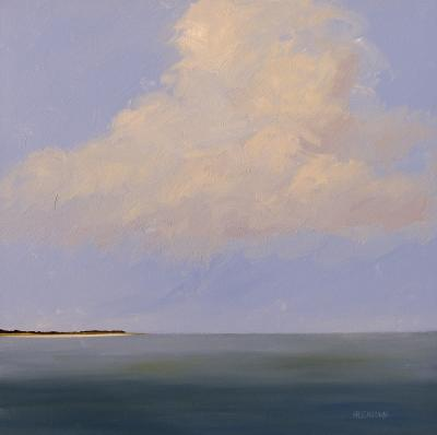 Impressionist Minimalist Seascape with Clouds