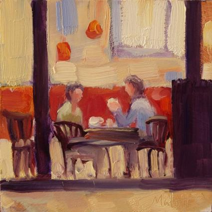 Coffee and Conversation daily painting oil impression