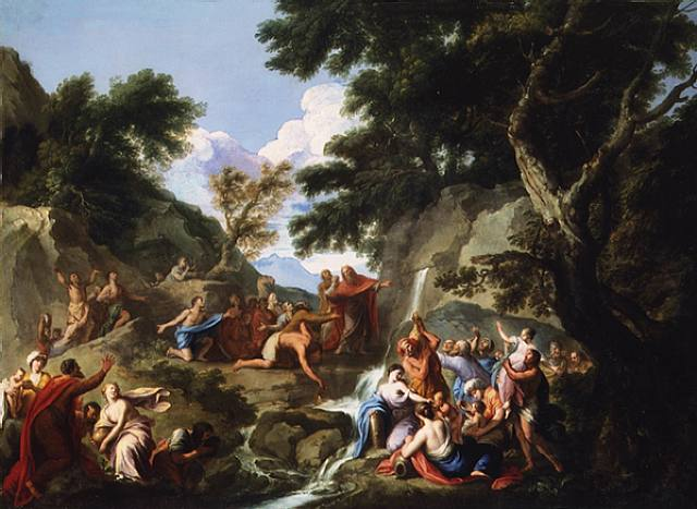 Wooden Landscape With Moses Striking The Rock