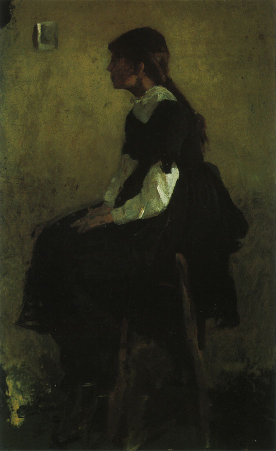 Seated Girl in a Long Black Dress