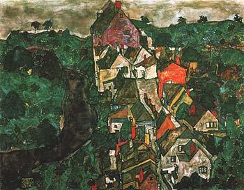 Egon Scheile Kruman Landscape (Town and River) 1915-16