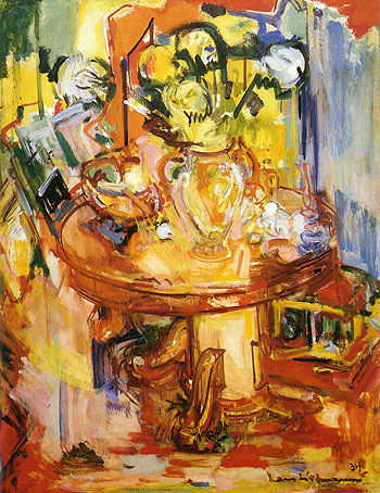Hans Hofmann Round Table With Pipe Round Table with Vases of Flowers 1939