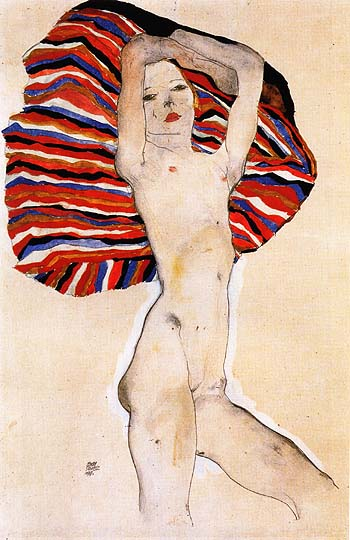 Egon Scheile Nude on Coloured Fabric, 1911