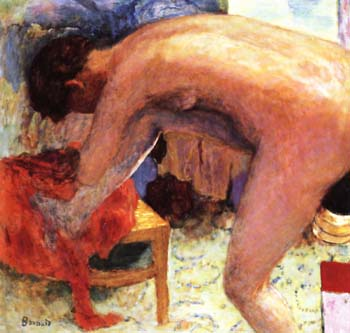 Pierre Bonnard NUDE RIGHT LEG RAISED 1924