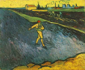 Vincent van Gogh The Sower: Outskirts of Arles in the Background