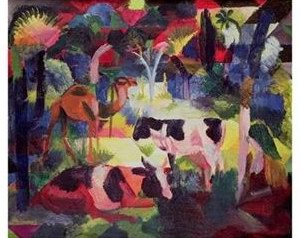 Auguste Macke Landscape with Cows and a Camel