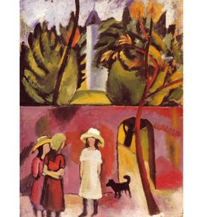 Auguste Macke Three Girls with a Dog in Front of the Garden Gate