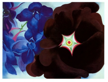 Black-Hollyhock-Blue-Larkspur-Georgia-OKeeffe-1930