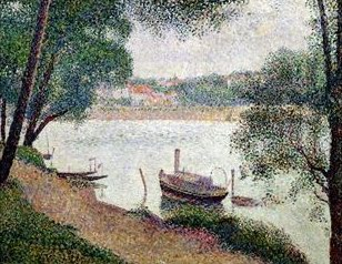 Georges Seurat River Landscape with a Boat
