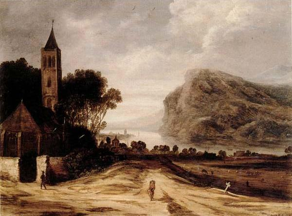 An extensiver river landscape with a church,cattle grazing and a traveller on a track