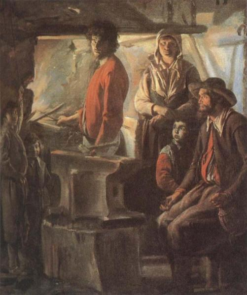 Blacksmith at his forge