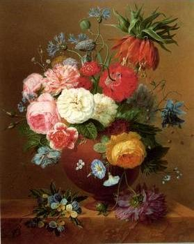 Floral, beautiful classical still life of flowers.089