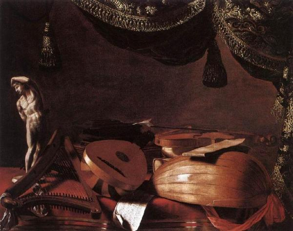 Still-Life with Musical Instruments and a Small Classical Statue www