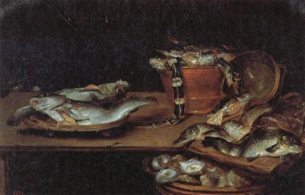 Still Life with Fish,Oysters,and a Cat