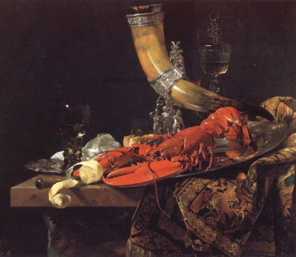 Still Life with the Drinking-Horn of the Saint Sebastian Archers-Guild,Lobster and Glasses