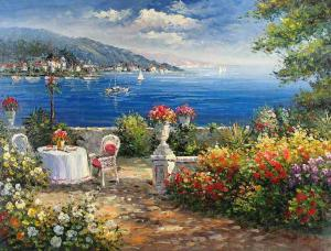 Garden on the Mediterranean,oil paintings online