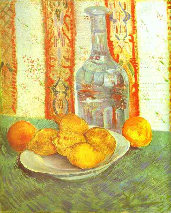 Still Life with Bottle and Lemons on a Plate