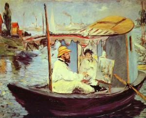 Claude Monet Painting on His Studio Boat