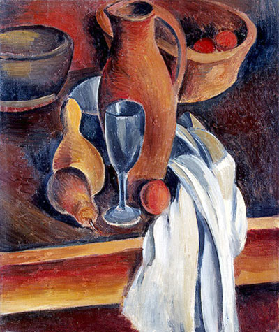 Still Life with Earthenware Jug and White Napkin
