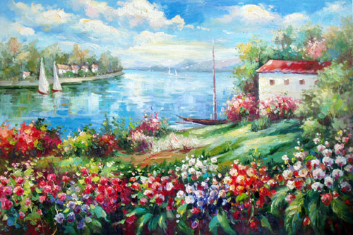 oil painting of Garden by the Shore