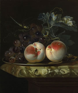 A Still Life with Two Peaches and Bunch of Grapes on a Silver Plate set on a Marble Slab