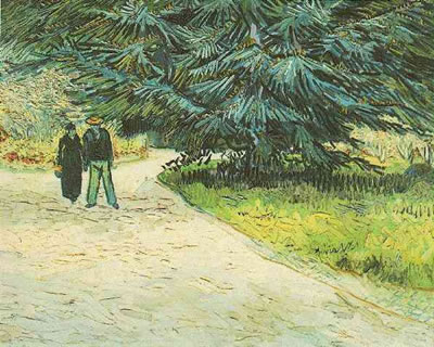 Public Garden with Couple and Blue Fir Tree: The Poets Garden III