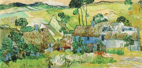 Thatched Cottages by a Hill