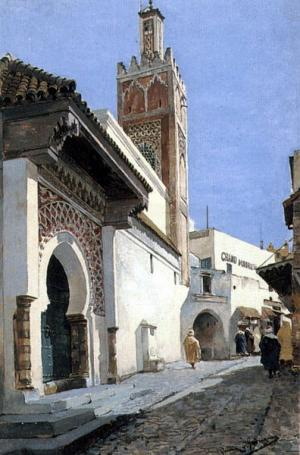 A Street Scene with a Mosque, Tangier