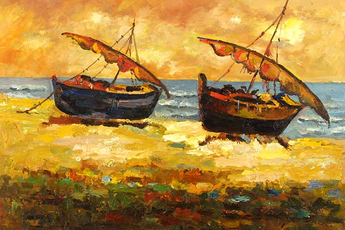 The Beach Boats,oil paintings from photos
