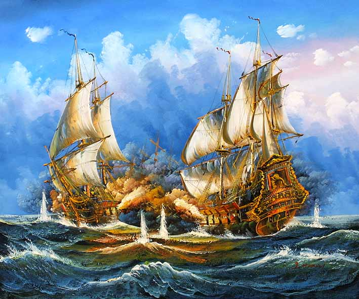 Sea Battle Scene