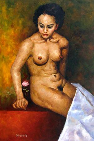 Black Woman with a Pink Flower