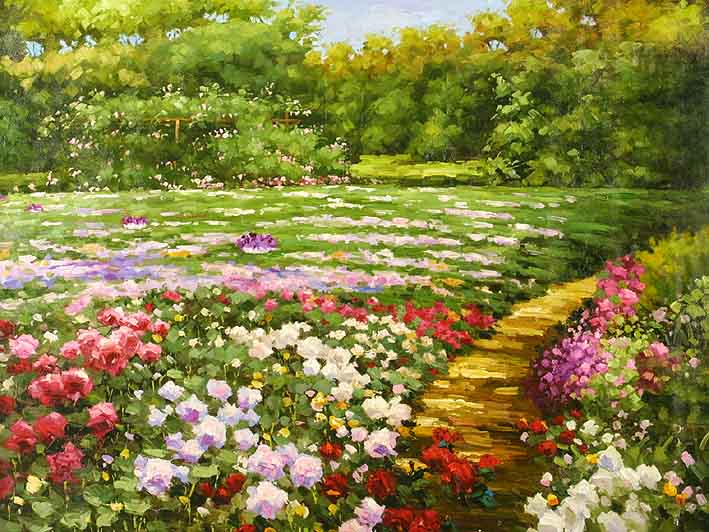 The Flower Park,oil painting of flowers