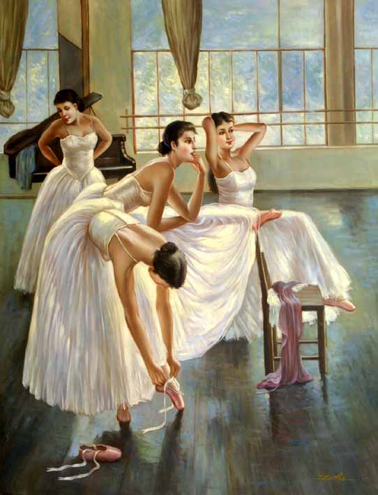 Practising Dancers, III,oil paintings from photos