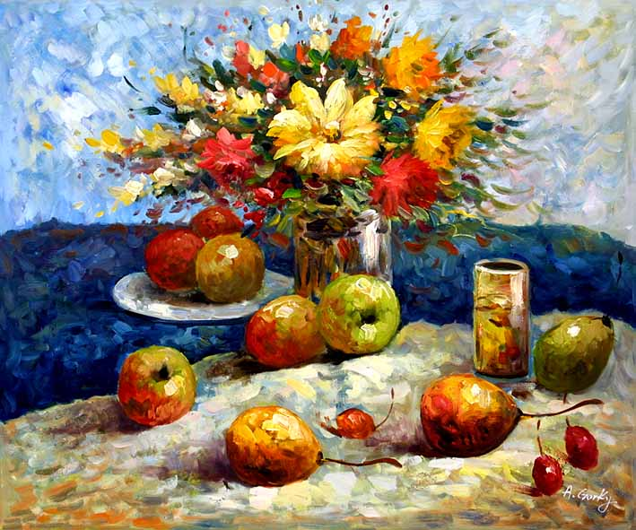 Still Life with a Flower Bouquet and Fruit Pieces