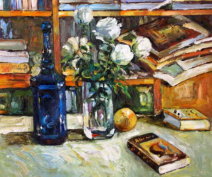 Still Life with Fruit, Books, and a Vase with White Flowers