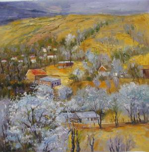 Impression landscape oil painting,Village and golden mountain