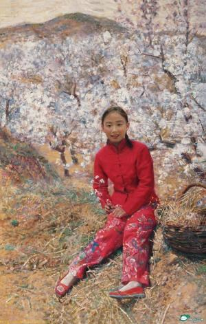 The Chinese girls wear red clothes
