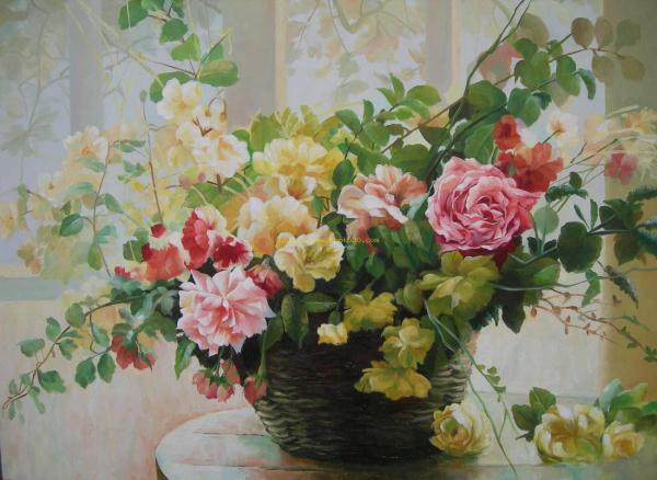 Impression flowers oil painting