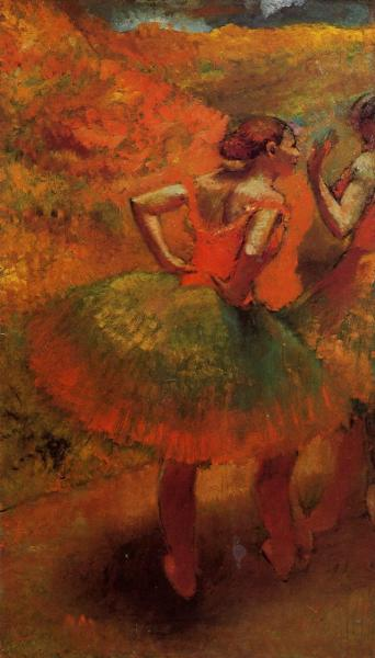 Two Dancers in Green Skirts, Landscape Scenery