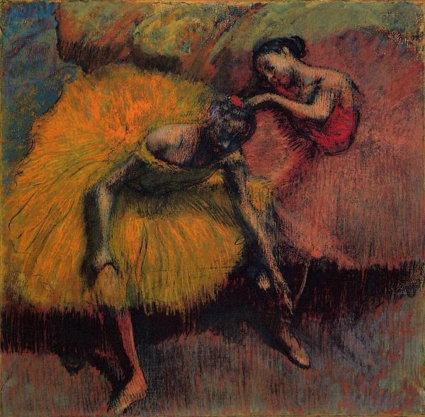 Two Dancers in Yellow and Pink