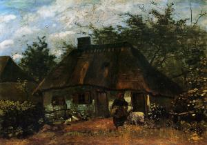Cottage and Woman with Goat