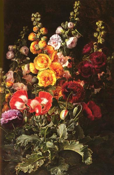 A Still Life Of Hollyhocks And Poppies